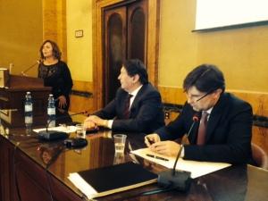 Un momento della conferenza con l'On. Colomba Mongiello (da sinistra), Enrico Lupi e il Vice Ministro Olivero