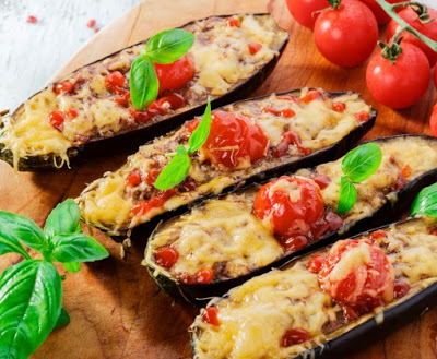 baked eggplant with cheese meat and tomatoes