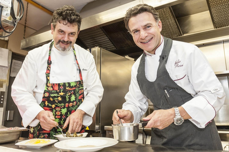 San Marino,ristorante Righi la Taverna Lo chef Luigi Sartini con lo Chef Stellato Fabio Rossi precedentemnte chef presso il Ristorante Vite di San Patrignano affianchera lo chef a partire da oggi 08 Febbraio 2018 Ph